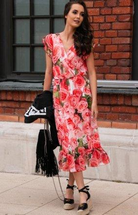 Modna sukienka midi w kolorowe kwiaty 0250/D33
