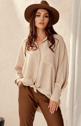 Oversizowa koszula damska beżowa 0125