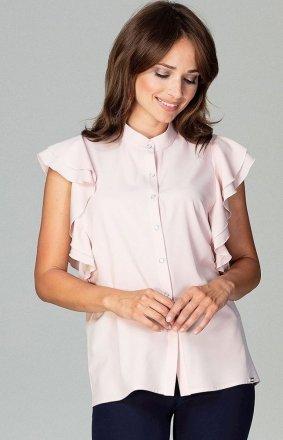 Efektowna bluzka z falbankami jasnoróżowa K482