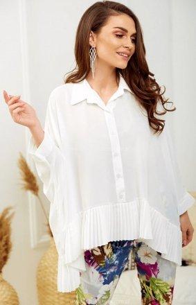 Oversizowa koszula z plisowaniem biała