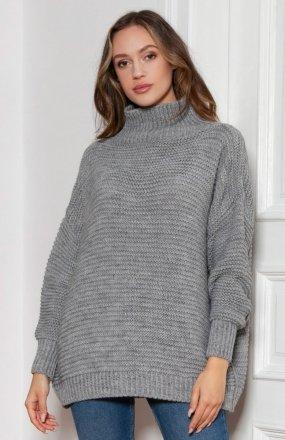 Sweter oversize z golfem szary SWE148