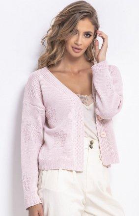 *Krótki sweterek pudrowy róż F767