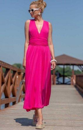 Letnia sukienka maxi fuksja F1252