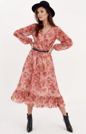 Sukienka midi z falbaną w kwiatuszki 0241/D97