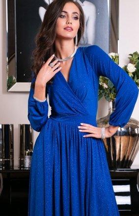 Roco 0227 długa sukienka wieczorowa chabrowa