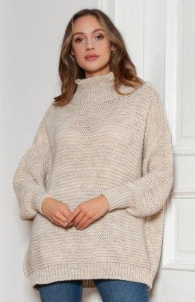 Sweter oversize z golfem beż SWE148