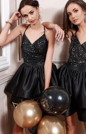 *Wieczorowa sukienka czarne cekiny 271