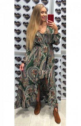 Asymetryczna sukienka maxi Lola wzorzysta