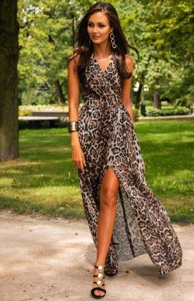 Długa sukienka w panterkę 0209 D40