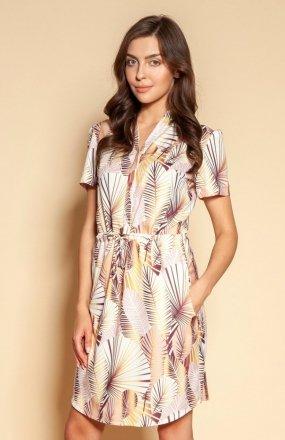 Sukienka z troczkiem i krótkim rękawem beż SUK196