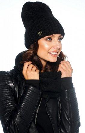 Zimowy komplet czapka i szalik czarny LC119