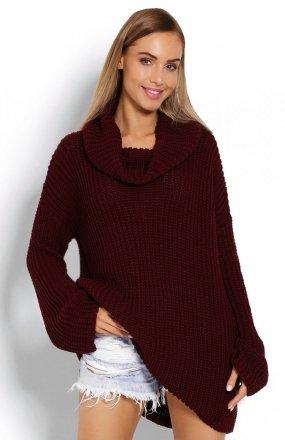 PeekaBoo 70012 gruby sweter golf bordowy