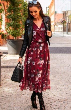 Sukienka midi w kwiaty 0241/D57