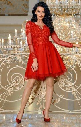Czerwona sukienka rozkloszowana 2160-02
