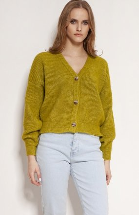 MKM SWE236 rozpinany sweter jasny zielony
