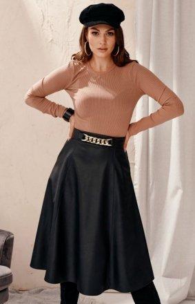 Midi spódnica damska z kieszeniami czarna 0040