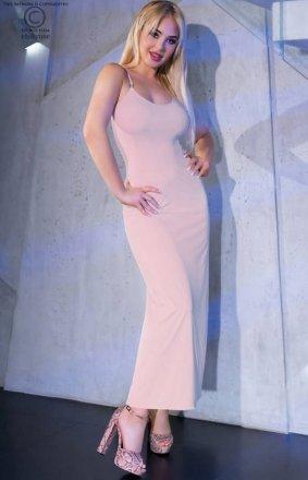 Chilirose długa dopasowana sukienka nocna skin 4379