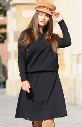 Bawełniana sukienka czarna L347