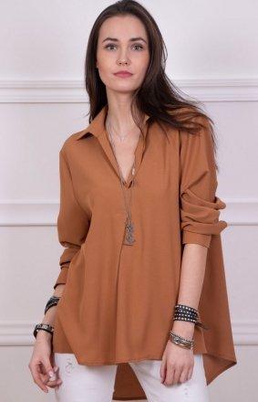 Oversizowa koszulka damska karmelowa 0051