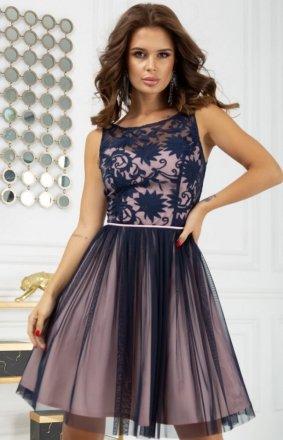 Koktajlowa sukienka z tiulem 2207-11