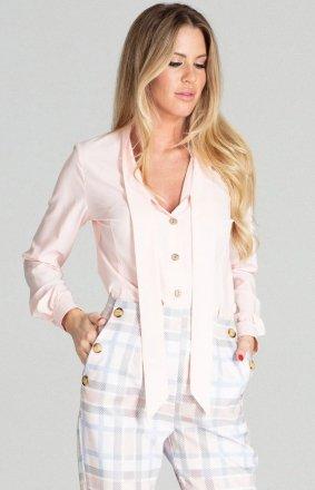Pudrowa bluzka z wiązaniem M700
