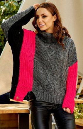 Kolorowy sweter w paski LS233 grafitowy