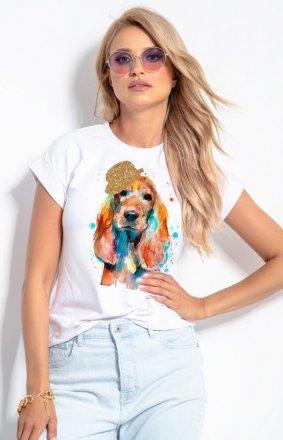 T-shirt damski z brokatowym pieskiem K657