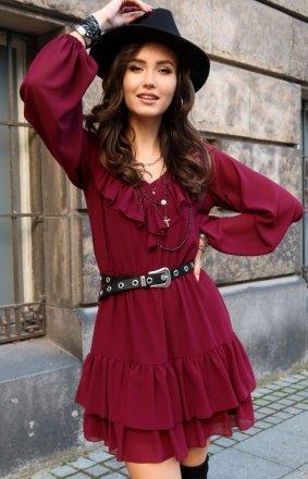 Kobieca sukienka z falbankami 0306