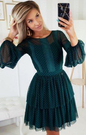 Zielona sukienka z bufiastymi rękawami 2191-13