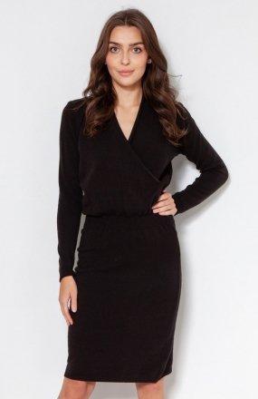 Swetrowa sukienka z kopertowym dekoltem czarna SWE136