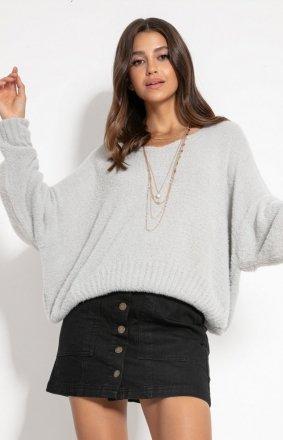 Luźny oversizowy sweter szary F1066