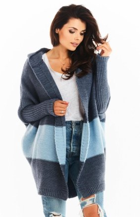 Oversizowy sweter z kapturem blue A392