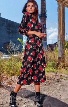 Sukienka midi w kwiaty Awama A313