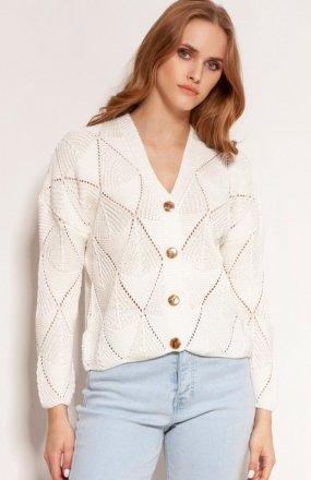 Ażurowy sweter na guziki ecru SWE143