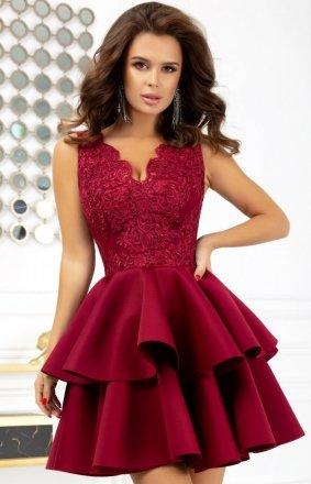 Rozkloszowana sukienka z pianką bordowa 2122-10