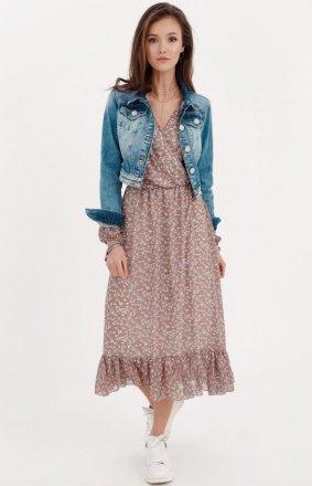 Sukienka midi z falbaną w kwiatuszki 0241/R04