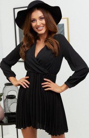Lola Fashion plisowana sukienka czarna
