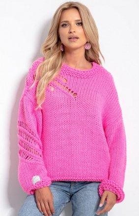 Oversizowy sweter alpaka różowy F1054