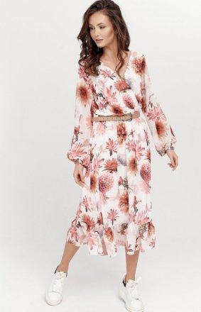 Sukienka midi z falbaną w kwiaty 0241/R08