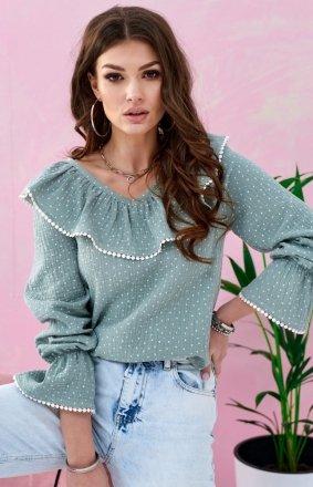 Romantyczna bluzka z falbankami miętowa 0111