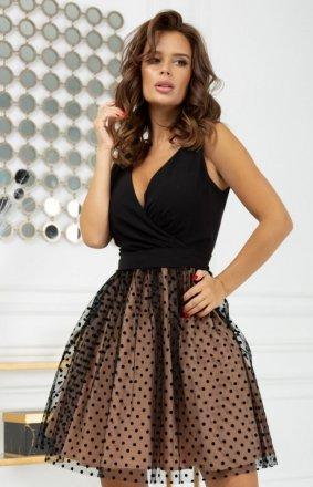 Rozkloszowana sukienka w groszki 2217-16