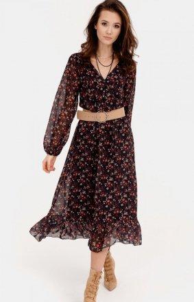 Sukienka midi z falbaną w kwiaty 0241/R13