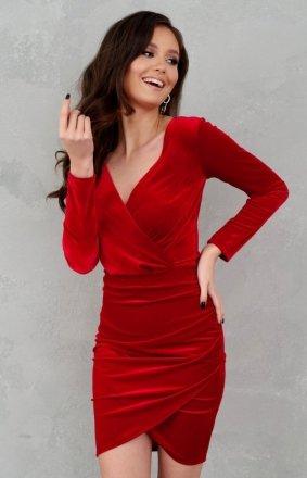 Elegancka kopertowa sukienka czerwona 0308