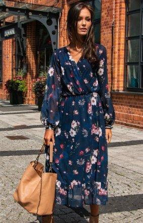 Sukienka midi w kwiaty 0241/D55