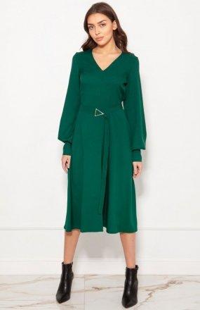 Sukienka z efektownymi rękawami zielona SUK189