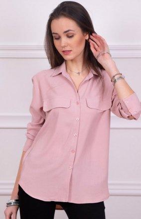 Modna koszula damska różowa Roco 0050