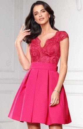Bicotone 2139-07 sukienka rozkloszowana różowa