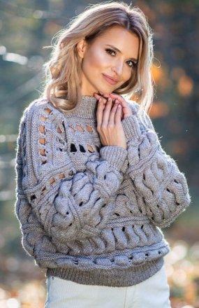 *Fobya F600 sweter z dziurami mocca
