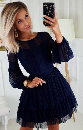 Granatowa sukienka z bufiastymi rękawami 2191-01