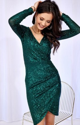 Wieczorowa sukienka cekinowa zielona 0265